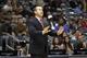 Oct 20, 2013; Atlanta, GA, USA; Memphis Grizzlies head coach David Joerger coaches against the Atlanta Hawks in the fourth quarter at Philips Arena. The Grizzlies defeated the Hawks 90-82. Mandatory Credit: Brett Davis-USA TODAY Sports