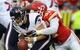 Oct 20, 2013; Kansas City, MO, USA; Houston Texans quarterback Case Keenum (7) is sacked by Kansas City Chiefs outside linebacker Tamba Hali (91) during the second half at Arrowhead Stadium. The Chiefs won 17-16. Mandatory Credit: Denny Medley-USA TODAY Sports