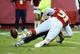 Oct 20, 2013; Kansas City, MO, USA; Kansas City Chiefs outside linebacker Tamba Hali (91) forces a fumble by sacking Houston Texans quarterback Case Keenum (7) in the second half at Arrowhead Stadium. The Chiefs won 17-16. Mandatory Credit: John Rieger-USA TODAY Sports