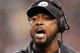 Oct 20, 2013; Pittsburgh, PA, USA; Pittsburgh Steelers head coach Mike Tomlin reacts as he talks to an official concerning a replay challenge against the Baltimore Ravens during the fourth quarter at Heinz Field. The Steelers won 19-16. Mandatory Credit: Charles LeClaire-USA TODAY Sports