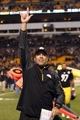 Oct 20, 2013; Pittsburgh, PA, USA; Pittsburgh Steelers offensive coordinator Todd Haley reacts after defeating the Baltimore Ravens at Heinz Field. The Steelers won 19-16. Mandatory Credit: Charles LeClaire-USA TODAY Sports