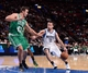Oct 20, 2013; Montreal, Quebec, CAN; Boston Celtics forward Kris Humphries (43) defends against Minnesota Timberwolves guard J.J. Barea (11) during the first quarter at the Bell Centre. Mandatory Credit: Eric Bolte-USA TODAY Sports
