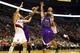 Oct 20, 2013; Portland, OR, USA; Portland Trail Blazers point guard Damian Lillard (0) shoots over Sacramento Kings power forward Chuck Hayes (42) in the second half at Moda Center. Mandatory Credit: Jaime Valdez-USA TODAY Sports