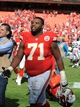 Oct 13, 2013; Kansas City, MO, USA; Kansas City Chiefs guard Jeff Allen (71) leaves the field after the game against the Oakland Raiders at Arrowhead Stadium. Kansas City won the game 24-7. Mandatory Credit: John Rieger-USA TODAY Sports