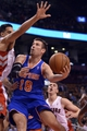 Oct 21, 2013; Toronto, Ontario, CAN; New York Knicks point guard Beno Udrih (18) attempts to make a shot near the basket in the second half of a game against the Toronto Raptors at Air Canada Centre. Toronto won in triple overtime 123-120.  Mandatory Credit: Mark Konezny-USA TODAY Sports