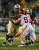 Oct 19, 2013; Waco, TX, USA; Baylor Bears offensive linesman LaQuan McGowan (60) blocks Iowa State Cyclones defensive lineman Brandon Jensen (93) during the game at Floyd Casey Stadium. The Bears defeated the Cyclones 71-7. Mandatory Credit: Jerome Miron-USA TODAY Sports