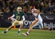 Oct 19, 2013; Waco, TX, USA; Baylor Bears quarterback Seth Russell (17) eludes Iowa State Cyclones defensive end Cory Morrissey (48) during the game at Floyd Casey Stadium. The Bears defeated the Cyclones 71-7. Mandatory Credit: Jerome Miron-USA TODAY Sports