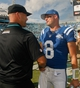 Sep 29, 2013; Jacksonville, FL, USA; Jacksonville Jaguars head coach Gus Bradley shakes hands with Indianapolis Colts quarterback Matt Hasselbeck (8) after their game at EverBank Field. The Indianapolis Colts beat the Jacksonville Jaguars 37-3. Mandatory Credit: Phil Sears-USA TODAY Sports