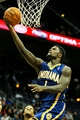 Oct 22, 2013; Atlanta, GA, USA; Indiana Pacers shooting guard Lance Stephenson (1) shoots a basket in the second half against the Atlanta Hawks at Philips Arena. The Pacers won 107-89. Mandatory Credit: Daniel Shirey-USA TODAY Sports