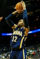 Oct 22, 2013; Atlanta, GA, USA; Indiana Pacers point guard C.J. Watson (32) shoots a three in the second half against the Atlanta Hawks at Philips Arena. The Pacers won 107-89. Mandatory Credit: Daniel Shirey-USA TODAY Sports