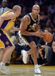 Oct 22, 2013; Los Angeles, CA, USA; Utah Jazz small forward Richard Jefferson (24) drives to the baseline against Los Angeles Lakers point guard Steve Blake (5) during second half action at Staples Center. Mandatory Credit: Robert Hanashiro-USA TODAY Sports