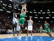 Oct 20, 2013; Montreal, Quebec, CAN; Boston Celtics forward Kris Humphries (43) dunks over Minnesota Timberwolves center Chris Johnson (3) during the third quarter at the Bell Centre. Mandatory Credit: Eric Bolte-USA TODAY Sports