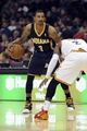 Oct 19, 2013; Cleveland, OH, USA; Indiana Pacers guard George Hill (3) and Cleveland Cavaliers guard Kyrie Irving (2) during the game at Quicken Loans Arena. The Pacers beat the Cavaliers 102-79. Mandatory Credit: Ken Blaze-USA TODAY Sports