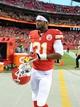 Oct 20, 2013; Kansas City, MO, USA; Kansas City Chiefs cornerback Marcus Cooper (31) after the game against the Houston Texans at Arrowhead Stadium. The Chiefs won 17-16. Mandatory Credit: John Rieger-USA TODAY Sports