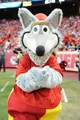 Oct 20, 2013; Kansas City, MO, USA; The Kansas City Chiefs mascot KC Wolf performs for the crowd during the game against the Houston Texans at Arrowhead Stadium. The Chiefs won 17-16. Mandatory Credit: Denny Medley-USA TODAY Sports