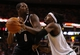 Oct 23, 2013; Boston, MA, USA; Brooklyn Nets power forward Andray Blatche (0) works the ball against Boston Celtics small forward Gerald Wallace (45) during the second quarter at TD Garden. Mandatory Credit: David Butler II-USA TODAY Sports