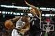 Oct 23, 2013; Boston, MA, USA; Boston Celtics shooting guard Jordan Crawford (27) drives the ball against Brooklyn Nets point guard Shaun Livingston (14) during the second half at TD Garden. The Celtics defeated the Brooklyn Nets 101-97. Mandatory Credit: David Butler II-USA TODAY Sports