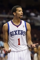 Oct 23, 2013; Philadelphia, PA, USA; Philadelphia 76ers guard Michael Carter-Williams (1) questions a call during the fourth quarter against the Minnesota Timberwolves at Wells Fargo Center. The Timberwolves defeated the Sixers 125-102. Mandatory Credit: Howard Smith-USA TODAY Sports