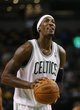Oct 23, 2013; Boston, MA, USA; Boston Celtics small forward Gerald Wallace (45) shoots a free-throw against the Brooklyn Nets during the second half at TD Garden. The Celtics defeated the Brooklyn Nets 101-97. Mandatory Credit: David Butler II-USA TODAY Sports