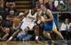 Oct 23, 2013; Sacramento, CA, USA; Sacramento Kings power forward Patrick Patterson (9) moves to the basket on Golden State Warriors center David Lee (10) during the first quarter at Sleep Train Arena. Mandatory Credit: Ed Szczepanski-USA TODAY Sports