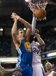 Oct 23, 2013; Sacramento, CA, USA; Golden State Warriors center David Lee (10) reacts after being fouled by Sacramento Kings power forward Jason Thompson (34) during the second quarter at Sleep Train Arena. Mandatory Credit: Ed Szczepanski-USA TODAY Sports