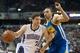 Oct 23, 2013; Sacramento, CA, USA; Sacramento Kings point guard Jimmer Fredette (7) drives past Golden State Warriors point guard Stephen Curry (30) during the fourth quarter at Sleep Train Arena. The Sacramento Kings defeated the Golden State Warriors 91-90. Mandatory Credit: Ed Szczepanski-USA TODAY Sports