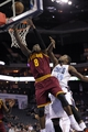Oct 24, 2013; Charlotte, NC, USA; Cleveland Cavaliers guard Jermaine Taylor (8) drives to the basket as he is defended by Charlotte Bobcats center Michael Kidd-Gilchrist (14) during the game at Time Warner Cable Arena. Mandatory Credit: Sam Sharpe-USA TODAY Sports