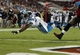 Oct 24, 2013; Tampa, FL, USA; Carolina Panthers fullback Mike Tolbert (35) jumps into the end zone to score a touchdown during the second half against the Tampa Bay Buccaneers at Raymond James Stadium. Carolina Panthers defeated the Tampa Bay Buccaneers 31-13. Mandatory Credit: Kim Klement-USA TODAY Sports