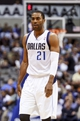 Oct 23, 2013; Dallas, TX, USA; Dallas Mavericks shooting guard Wayne Ellington (21) reacts during the game against the Atlanta Hawks at American Airlines Center. Dallas won 99-88. Mandatory Credit: Kevin Jairaj-USA TODAY Sports