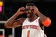 Oct 25, 2013; New York, NY, USA; New York Knicks power forward Amar'e Stoudemire (1) adjusts his eyewear during the second quarter of a preseason game against the Charlotte Bobcats at Madison Square Garden. Mandatory Credit: Brad Penner-USA TODAY Sports
