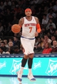 Oct 25, 2013; New York, NY, USA; New York Knicks small forward Carmelo Anthony (7) controls the ball against the Charlotte Bobcats during the third quarter of a preseason game at Madison Square Garden. Mandatory Credit: Brad Penner-USA TODAY Sports