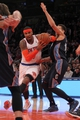 Oct 25, 2013; New York, NY, USA; New York Knicks small forward Carmelo Anthony (7) drives past Charlotte Bobcats small forward Jeffery Taylor (44) during the fourth quarter of a preseason game at Madison Square Garden. Mandatory Credit: Brad Penner-USA TODAY Sports
