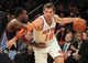 Oct 25, 2013; New York, NY, USA; New York Knicks point guard Beno Udrih (18) drives past Charlotte Bobcats point guard Kemba Walker (15) during the fourth quarter of a preseason game at Madison Square Garden. Mandatory Credit: Brad Penner-USA TODAY Sports