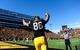 Oct 26, 2013; Iowa City, IA, USA; Iowa Hawkeyes tight end C.J. Fiedorowicz (86) celebrates after catching an eight-yard touchdown pass in overtime at Kinnick Stadium. Iowa beat Northwestern 17-10. Mandatory Credit: Byron Hetzler-USA TODAY Sports