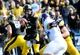 Oct 26, 2013; Iowa City, IA, USA; Iowa Hawkeyes quarterback Jake Rudock (15) looks to pass against the Nothwestern Wildcats during the third quarter at Kinnick Stadium. Mandatory Credit: Byron Hetzler-USA TODAY Sports