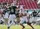 Oct 26, 2013; Tampa, FL, USA; South Florida Bulls defensive lineman Aaron Lynch (19) sacks Louisville Cardinals quarterback Will Gardner (11)  during the second half at Raymond James Stadium. Mandatory Credit: Kim Klement-USA TODAY Sports