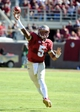 Oct 26, 2013; Tallahassee, FL, USA; Florida State Seminoles quarterback Jameis Winston (5) throws the ball during the first quarter of the game against the North Carolina State Wolfpack at Doak Campbell Stadium. Mandatory Credit: Melina Vastola-USA TODAY Sports