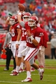Oct 26, 2013; Norman, OK, USA; Oklahoma quarterback Blake Bell warms up before their game against the Texas Tech Red Raiders at Gaylord Family - Oklahoma Memorial Stadium. Mandatory Credit: Alonzo Adams-USA TODAY Sports