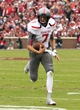 Oct 26, 2013; Norman, OK, USA; Texas Tech Red Raiders quarterback Davis Webb runs for the first down against the Oklahoma Sooners during the first quarter at Gaylord Family-Oklahoma Memorial Stadium. Mandatory Credit: Alonzo Adams-USA TODAY Sports
