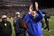 Oct 26, 2013; Blacksburg, VA, USA; Duke Blue Devils head coach David Cutcliffe celebrates after the game against the Virginia Tech Hokies at Lane Stadium. Mandatory Credit: Peter Casey-USA TODAY Sports