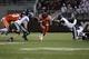 Oct 26, 2013; Blacksburg, VA, USA; Virginia Tech Hokies running back J.C. Coleman (4) rushes the ball against against the Duke Blue Devils during the third quarter at Lane Stadium. Mandatory Credit: Peter Casey-USA TODAY Sports