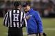 Oct 26, 2013; Blacksburg, VA, USA; Duke Blue Devils head coach David Cutcliffe talks with a referee during the game against the Virginia Tech Hokies at Lane Stadium. Mandatory Credit: Peter Casey-USA TODAY Sports