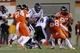 Oct 26, 2013; Blacksburg, VA, USA; Duke Blue Devils quarterback Anthony Boone (7) rushes the ball during the fourth quarter against the Virginia Tech Hokies at Lane Stadium. Mandatory Credit: Peter Casey-USA TODAY Sports