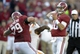 Oct 26, 2013; Tuscaloosa, AL, USA; Alabama Crimson Tide quarterback A.J. McCarron (10) passing against the Tennessee Volunteers during the fourth quarter at Bryant-Denny Stadium. Mandatory Credit: John David Mercer-USA TODAY Sports