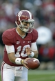Oct 26, 2013; Tuscaloosa, AL, USA; Alabama Crimson Tide quarterback A.J. McCarron (10) looks to hand off  against the Tennessee Volunteers during the fourth quarter at Bryant-Denny Stadium. Mandatory Credit: John David Mercer-USA TODAY Sports
