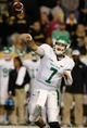 Oct 26, 2013; Hattiesburg, MS, USA; North Texas Mean Green quarterback Derek Thompson (7) makes a throw in the second quarter of their game against the Southern Miss Golden Eagles at M.M. Roberts Stadium. Mandatory Credit: Chuck Cook-USA TODAY Sports