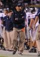 Oct 26, 2013; Auburn, AL, USA; Florida Atlantic Owls head coach Carl Pelini during the first half against the Auburn Tigers at Jordan Hare Stadium. Mandatory Credit: Shanna Lockwood-USA TODAY Sports