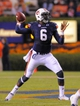 Oct 26, 2013; Auburn, AL, USA; Auburn Tigers quarterback Jeremy Johnson (6) looks to pass against the Florida Atlantic Owls at Jordan Hare Stadium. The Tigers beat the Owls 45-10. Mandatory Credit: Shanna Lockwood-USA TODAY Sports