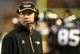 Oct 26, 2013; Hattiesburg, MS, USA; Southern Miss Golden Eagles head coach Todd Monken watches from the sidelines against the North Texas Mean Green in the second quarter at M.M. Roberts Stadium. North Texas won 55-14. Mandatory Credit: Chuck Cook-USA TODAY Sports