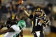 Oct 26, 2013; Hattiesburg, MS, USA; Southern Miss Golden Eagles quarterback Nick Mullens (14) passes the ball in the second half against the North Texas Mean Green at M.M. Roberts Stadium. North Texas won 55-14. Mandatory Credit: Chuck Cook-USA TODAY Sports